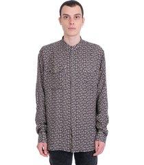 balmain shirt in black polyamide polyester