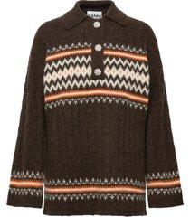 fine alpaca knit stickad tröja brun ganni