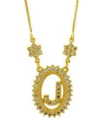 colar horus import letra j zircônia banhado ouro 18k feminino