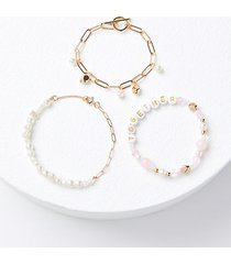 loft bcrf rose quartz beaded bracelet set
