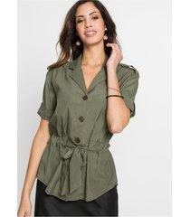 blouse met korte mouwen en strikceintuur
