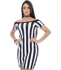 vestido b'bonnie curto listrado branco e preto