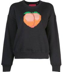 mostly heard rarely seen 8-bit peach crew neck sweatshirt - black