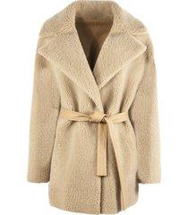 blancha sand shearling/sheepskin coat