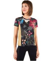 camiseta farm rio dry fit flor de luz - feminina - preto