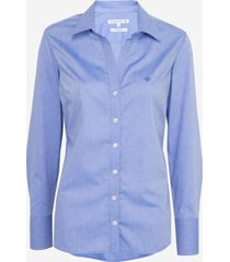 camisa dudalina manga longa tricoline fio tinto maquinetado feminina (azul claro, 46)