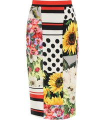 dolce & gabbana patchwork pencil skirt