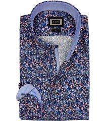 bugatti overhemd blauw gekleurd motief easy care
