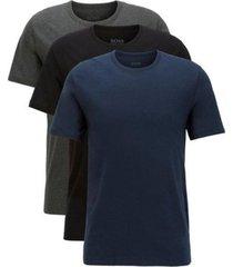 hugo boss 3-pack cotton t-shirts - zwart/blauw/grijs
