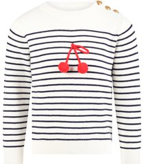 bonpoint white sweater for girl with cherry