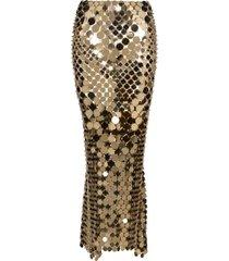sequined light gold maxi skirt