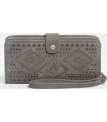 maurices womens embroidered phone case wristlet gray