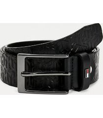 tommy hilfiger men's monogram print leather belt black - 40