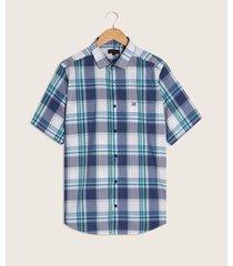 camisa manga corta cuadros estampados con bolsillo