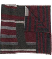 boss striped fine knit scarf - grey