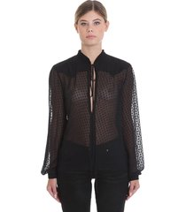 amiri plumetisse blouse in black silk