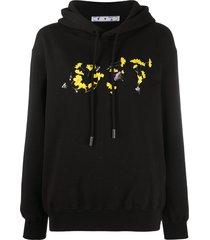 off-white flower reg hoodie black yellow