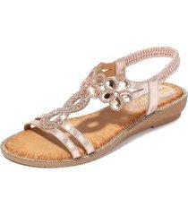 sandalias de verano con flores de diamantes de imitación para mujer-rosa