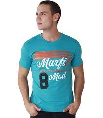 camiseta de hombre marfil slim fit algodon azul petroleo