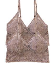 women's felina 2-pack lace bralettes, size small/medium - beige