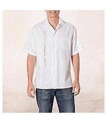 men's cotton guayabera shirt, 'salvadoran history' (el salvador)