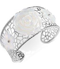 mother-of-pearl flower openwork cuff bracelet in sterling silver