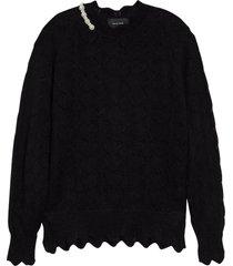 women's simone rocha heart beaded scalloped mohair blend sweater, size small - black