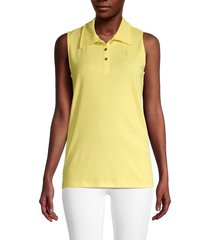 pappagallo women's gabby sleeveless polo shirt - lemonade - size xl
