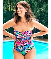 hawaii floral underwire bandeau tummy control one-piece swimsuit b-g cup