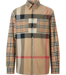 burberry oversized patchwork check shirt - neutrals