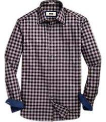 joseph abboud woven burgundy check sport shirt