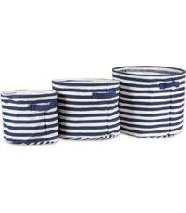 design imports polyethylene coated herringbone woven cotton laundry bin stripe french round set of 3