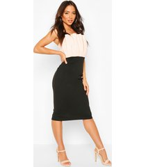 colour block pleated top bandeau midi dress, nude