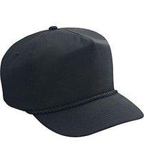 otto cotton blend twill five panel pro style baseball cap (color-black)