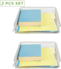 mind reader 2 piece front load storage tray, desktop file organizer