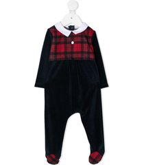 patachou contrast tartan-panel pajamas - blue