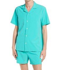 men's open edit short sleeve button-up swim shirt, size small - blue/green