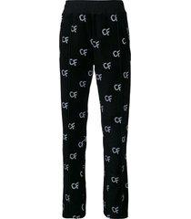 chiara ferragni all-over logo pants - black