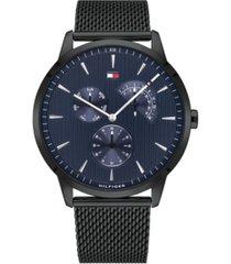 tommy hilfiger men's black stainless steel mesh bracelet watch 44mm