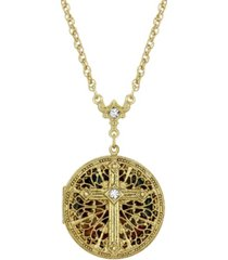 14k gold dipped crystal cross round locket necklace