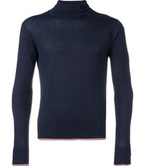 thom browne classic cashmere turtleneck pullover - blue