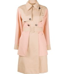 cédric charlier two tone belted trench coat - brown