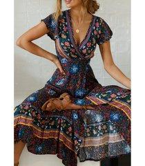 estilo bohemio vestido estampado de playa - azul oscuro