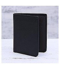 leather bifold wallet, 'noble black' (india)