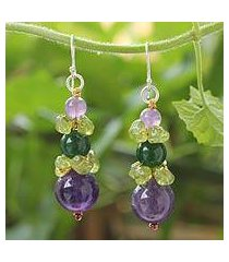 amethyst and peridot beaded earrings, 'thai harmony' (thailand)