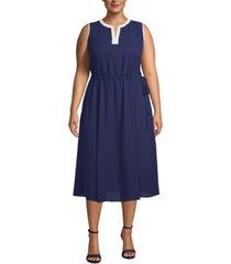 anne klein plus size split-neck drawstring-waist dress