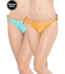 calcinha alto giro string dupla-face franzidos azul/laranja
