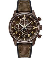 seiko men's chronograph essentials brown nylon & silicone strap watch 42.7mm