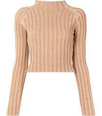 dion lee twist-back ribbed top - green