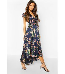bloemenprint midaxi jurk met kapmouwen en ceintuur, marineblauw